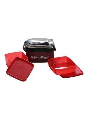 Signoraware 511 Deep Red Lunch Box With Bag