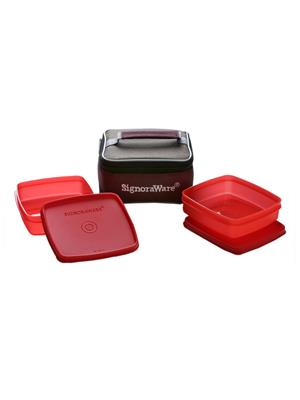 Signoraware 512 Deep Red Lunch Box With Bag