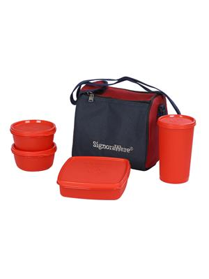 Signoraware 513 Deep Red Lunch Box With Bag