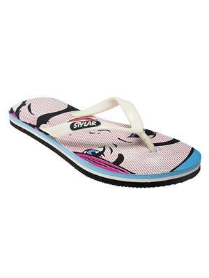 Stylar 514-9114 Blue-White Women Flip Flops