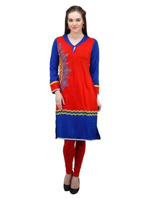 Gauri 515 Red Women Woolen Kurti