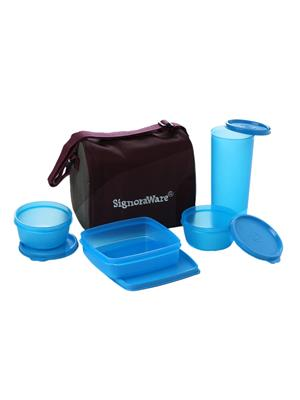Signoraware 519 Blue Lunch Box With Bag