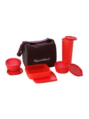 Signoraware 519 Deep Red Lunch Box With Bag