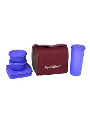 Signoraware 519 Deep Violet Lunch Box With Bag