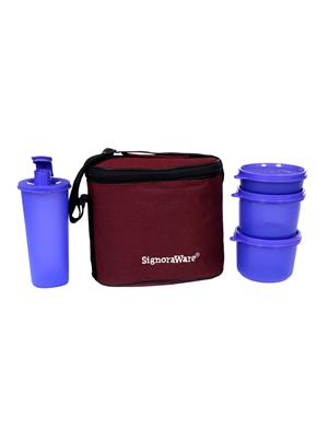 Signoraware 521 Deep Violet Lunch Box With Bag