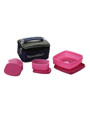 Signoraware 523 Pink Lunch Box With Bag