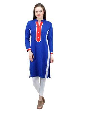 Gauri 524 Blue  Women Woolen Kurti