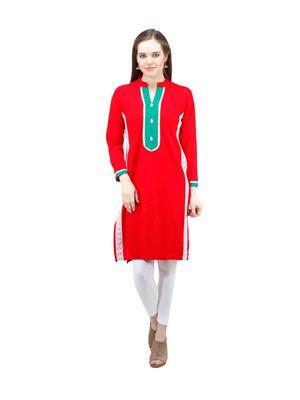 Gauri 524 Red Women Woolen Kurti