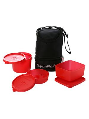 Signoraware 525 Deep Red Lunch Box With Bag