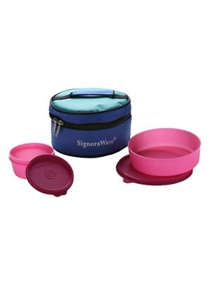 Signoraware 528 Pink Lunch Box With Bag