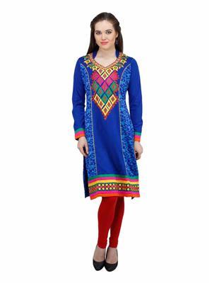 Gauri 529 Blue Women Woolen Kurti
