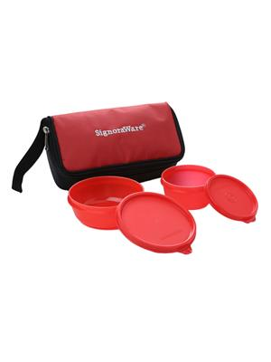 Signoraware 530 Deep Red Lunch Box With Bag