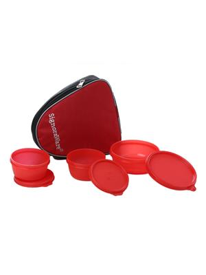 Signoraware 531 Deep Red Lunch Box With Bag