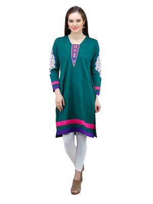 Gauri 536 Green Women Woolen Kurti