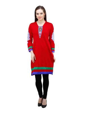 Gauri 536 Red Women Woolen Kurti