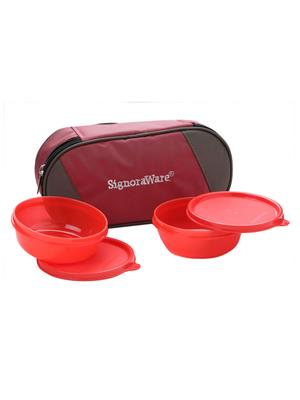 Signoraware 539 Deep Red Lunch Box With Bag