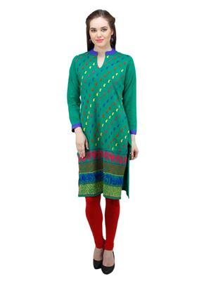 Gauri 544 Green Women Woolen Kurti
