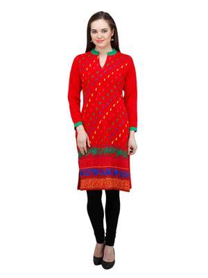 Gauri 544 Red Women Woolen Kurti