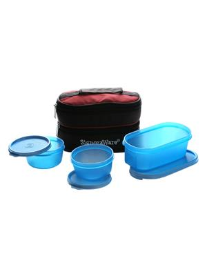 Signoraware 545 Blue Lunch Box With Bag