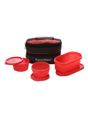 Signoraware 545 Deep Red Lunch Box With Bag