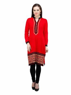 Gauri 547 Red Women Woolen Kurti