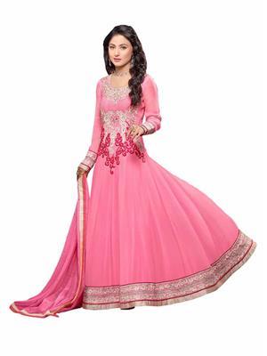Pakiza Design 549054 pink Women Georgette Anarkali Suit Dress Material