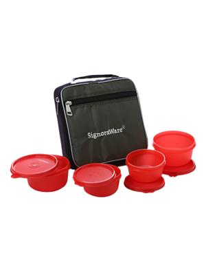 Signoraware 549 Deep Red Lunch Box With Bag