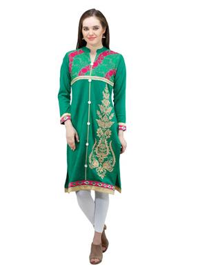 Gauri 549 Green Women Woolen Kurti