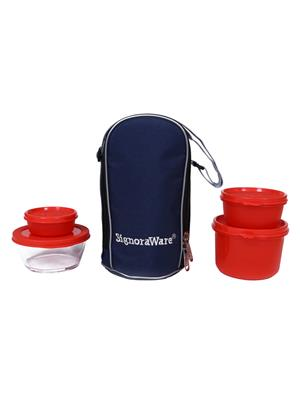 Signoraware 550 Deep Red Lunch Box With Bag