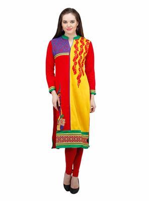 Gauri 550 Red Women Woolen Kurti