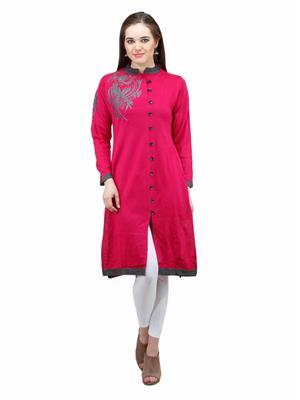 Gauri 551 Pink Women Woolen Kurti