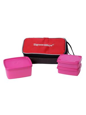 Signoraware 552 Pink Lunch Box With Bag