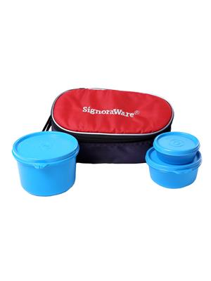 Signoraware 553 Blue Lunch Box With Bag