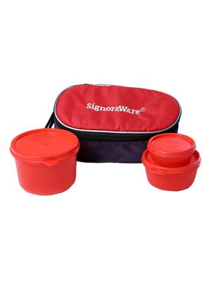 Signoraware 553 Deep Red Lunch Box With Bag