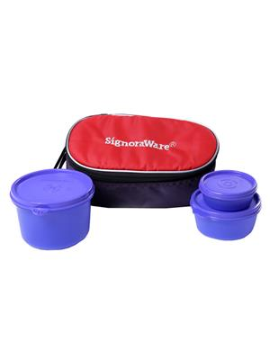 Signoraware 553 Deep Violet Lunch Box With Bag