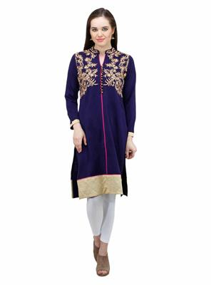 Gauri 554 Blue Women Woolen Kurti