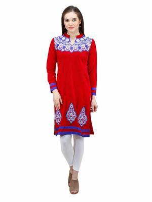 Gauri 560 Red Women Woolen Kurti