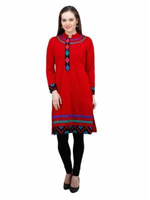 Gauri 561 Red  Women Woolen Kurti