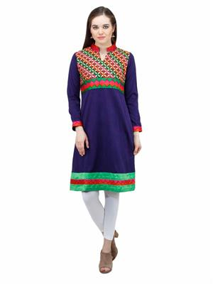 Gauri 562 Blue Women Woolen Kurti