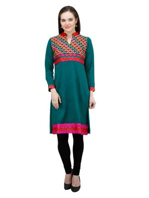 Gauri 562 Green Women Woolen Kurti
