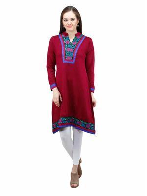Gauri 563 Red  Women Woolen Kurti