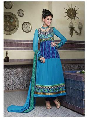 Ethnic Culture 586-17871 Blue Women Anarkali Dress Material