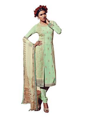 Nilkanth Communication 596-10Her5910 Green Women Dress Material