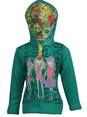 Ziama 6288 Green Girl Hooded Sweatshirts