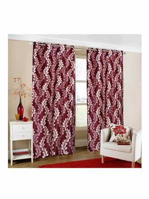 Modish Homes 62 Modish  Homes Dark Maroon Flower Design  Door Curtain