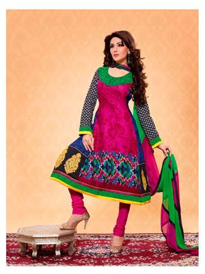 Ethnic Culture 676-19623 Multicolored Women Anarkali Dress Material