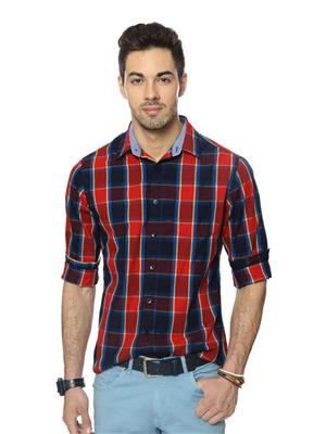 Able 69025 Red Black Checkered Men Shirt Fabric