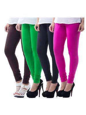 Medha 702130816 Multicolored Women Legging Set Of 4