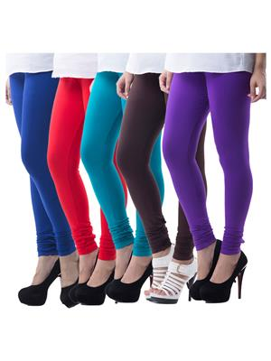 Medha 70307280223 Multicolored Women Legging Set Of 5