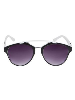 Adine  71203-Black-White Wayfarer Sunglasses